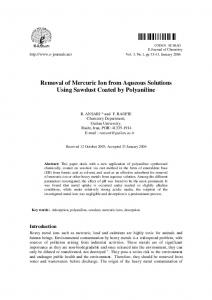 Removal of Mercuric Ion from Aqueous Solutions Using ... - Hindawi