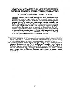 Removal of Metal Ions from Mine Effluents using ... - Semantic Scholar