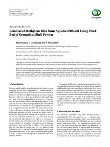 Removal of Methylene Blue from Aqueous Effluent Using Fixed Bed of