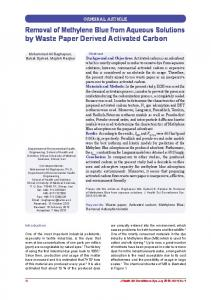 Removal of Methylene Blue from Aqueous Solutions by Waste Paper