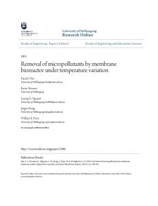 Removal of micropollutants by membrane ... - Research Online - UOW