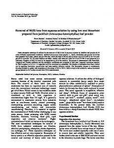 Removal of Ni(II) ions from aqueous solution by using low cost ... - NOPR