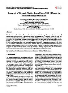 Removal of Organic Matter from Paper Mill Effluent by ... - CiteSeerX