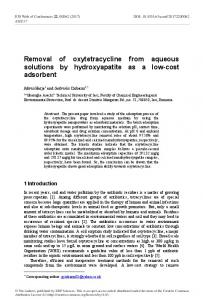 Removal of oxytetracycline from aqueous solutions by hydroxyapatite