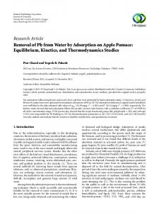 Removal of Pb from Water by Adsorption on Apple Pomace ...