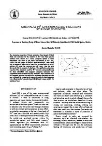 REMOVAL OF Pb2+ IONS FROM AQUEOUS SOLUTIONS BY