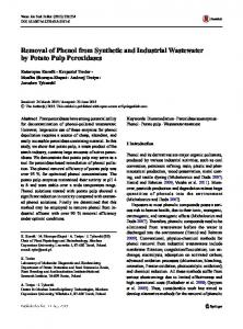 Removal of Phenol from Synthetic and Industrial