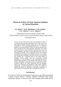 Removal of Silver (I) from Aqueous Solutions by ... - Semantic Scholar