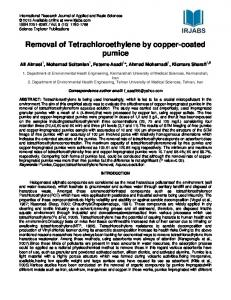 Removal of Tetrachloroethylene by copper-coated pumice