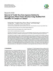 Removal of Textile Dyes from Aqueous Solution by Heterogeneous ...