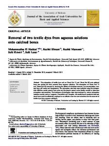 Removal of two textile dyes from aqueous solutions onto calcined bones