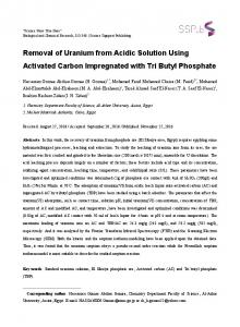 Removal of Uranium from Acidic Solution Using Activated Carbon ...