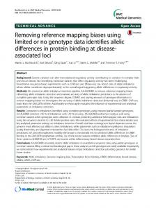 Removing reference mapping biases using limited or ... - Springer Link