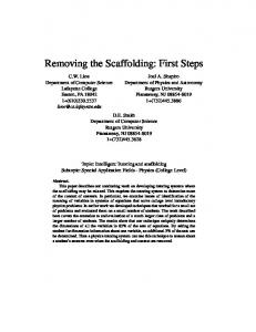 Removing the Scaffolding: First Steps - Rutgers Physics