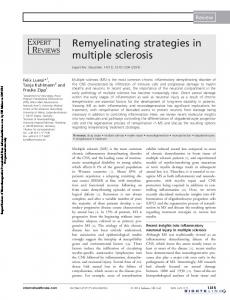 Remyelinating strategies in multiple sclerosis