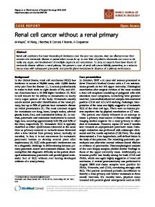 Renal cell cancer without a renal primary - Springer Link