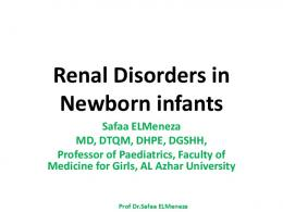 Renal Disorders in Newborn infants