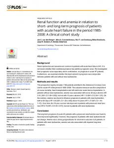 Renal function and anemia in relation to short- and long-term ... - PLOS