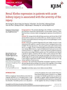 Renal Klotho expression in patients with acute kidney injury is ...