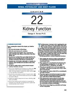 Renal Physiology And Body Fluids