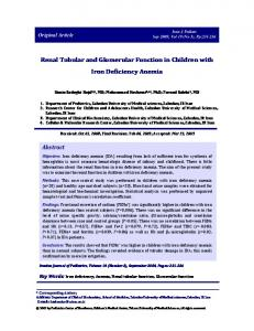Renal Tubular and Glomerular Function in Children with Iron ...