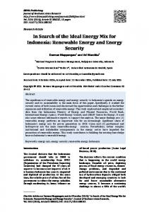 Renewable Energy and Energy Security - IBIMA Publishing