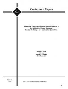 Renewable energy and energy storage systems in rural electrical ...