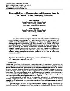 Renewable Energy Consumption and Economic Growth