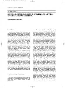 renewable energy content of fatty acid methyl esters