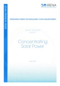 Renewable Energy Cost Analysis: Concentrating Solar Power - IRENA
