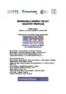 renewable energy policy country profiles - Re-shaping