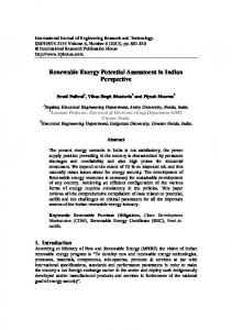 Renewable Energy Potential Assessment in Indian Perspective