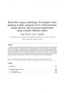 Renewable energy technologies for irrigation water ...