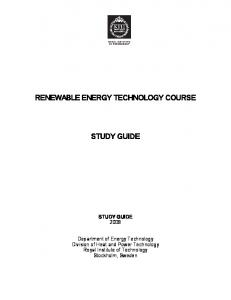 renewable energy technology course study guide - KTH