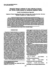 Renewable hydrogen production by steam reforming of glycerol over ...