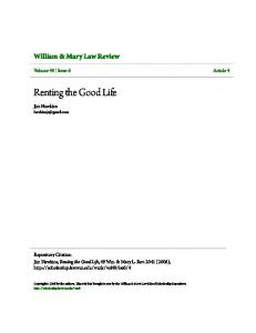 Renting the Good Life - Vermont.gov