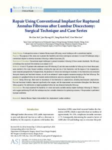 Repair Using Conventional Implant for Ruptured Annulus Fibrosus ...
