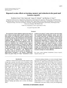 Repeated cocaine effects on learning, memory and extinction in the ...