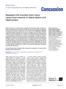 Repeated mild traumatic brain injury causes focal response in lateral ...
