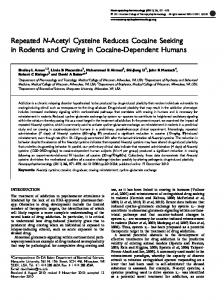 Repeated N-Acetyl Cysteine Reduces Cocaine Seeking in ... - Nature