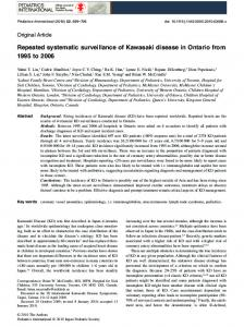 Repeated systematic surveillance of Kawasaki disease in Ontario from ...