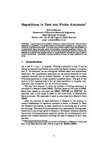 Repetitions in Text and Finite Automata - Semantic Scholar