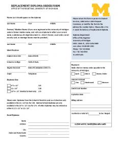 replacement diploma order form - Office of the Registrar - University ...