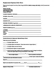 Replacement Diploma Order Form [PDF]