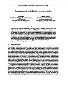 Replacement policies for a proxy cache - Semantic Scholar