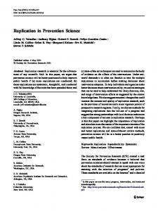 Replication in Prevention Science - Oregon State University