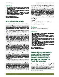 Reply to 'Plasma vemurafenib concentrations in advanced ...