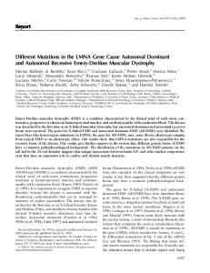 Report Different Mutations in the LMNA Gene Cause Autosomal ...