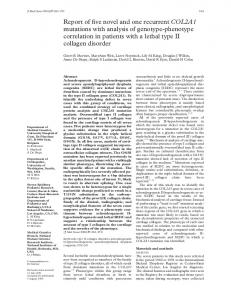 Report of five novel and one recurrent COL2A1 mutations ... - NCBI - NIH
