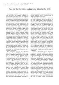 Report of the Committee on Economic Education for 2009 - American ...